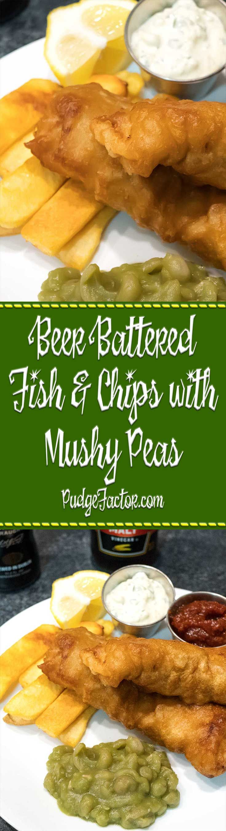 Beer Battered Fish and Chips with Mushy peas is a favorite pub meal. Add homemade tartar sauce, and you have a true winner!  via @c2king