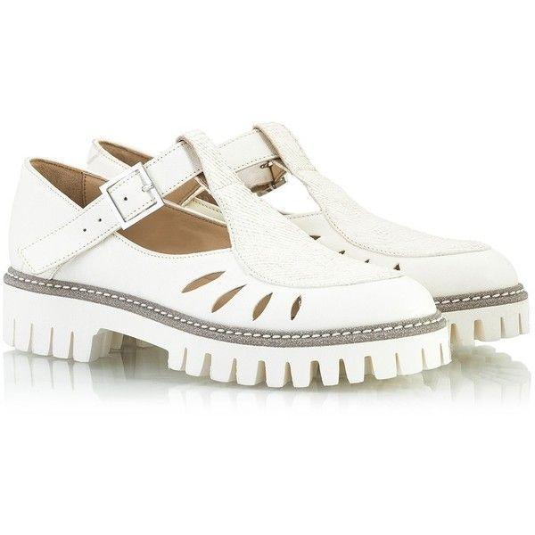 Alberto Guardiani - NEW ENGLAND White leather T-strap cut-out summer... ($195) ❤ liked on Polyvore featuring shoes, oxfords, white, white summer shoes, balmoral shoes, summer footwear, cut out shoes and summer shoes
