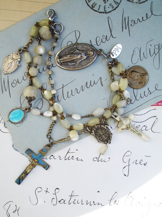 3 Strands Repurposed Rosary Bracelet with Blue by PaulaMontgomery, $150.00