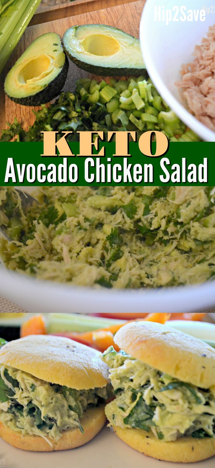 This Avocado Chicken Salad containes just four simple ingredients, and can be served on Keto Fathead rolls as a brilliant low carb sandwich!