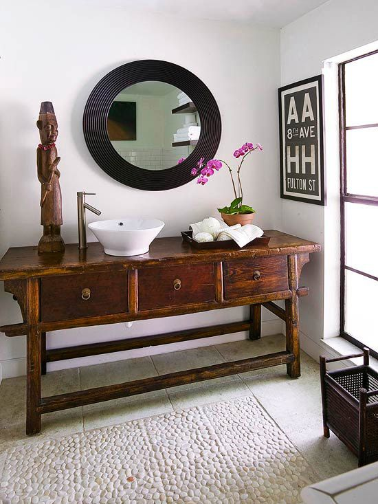 table : On A Budget, Decor Ideas, Floors, Bathroom Vanities, Small Bathrooms, Bathroom Remodeling, Bathroom Sinks, Bathroom Ideas, Antiques Shops