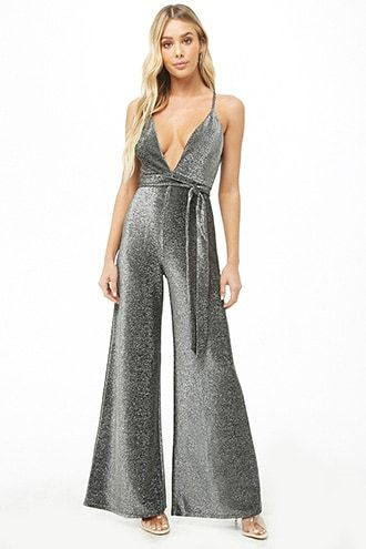 aa96d3ddf93e Plunging Belted Metallic Jumpsuit