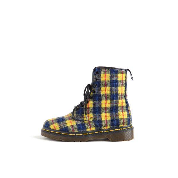 1f3255cf307b1b Vegan Doc Martens Boot Dr Martens Vegan Shoe Tartan Yellow Blue Plaid...  ( 194) ❤ liked on Polyvore featuring shoes