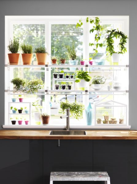 Where there's a window, there's a way to garden. Work with IKEA window shelves, plants, pots and hanging rails to create a scaled-down gardening spot.