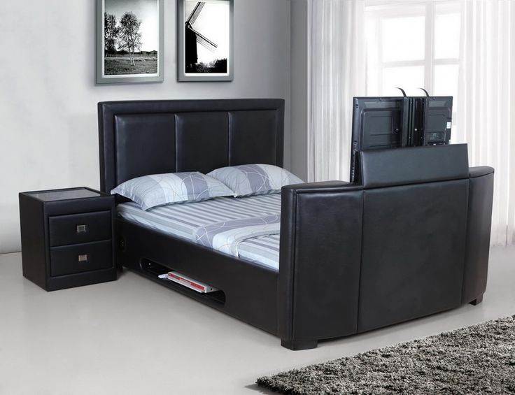 Galatic King Size Tv Bed Pu Black with two other sizes to choose from on our website! http://www.furniturestyleonline.co.uk/Galatic-King-Size-Tv-Bed-Pu-Black.html