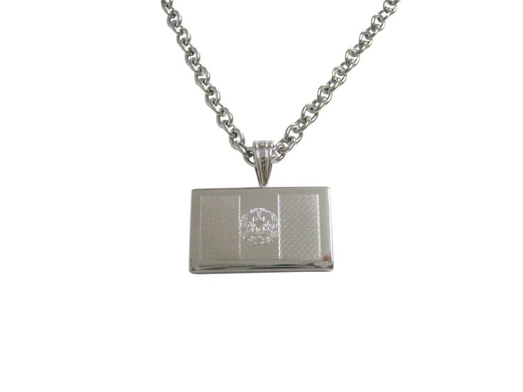 Silver Toned Etched Afghanistan Flag Pendant Necklace