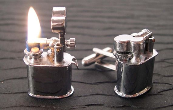 gentleman: the lighter cufflinks are key... i will say this, you do have to take them off to use them.