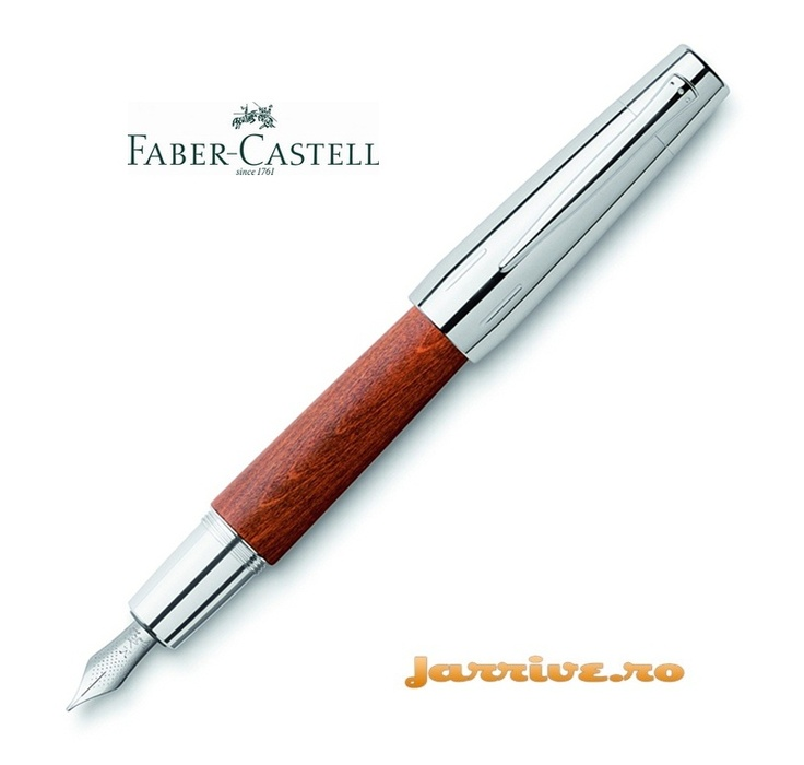 Faber-Castell e-motion Fountain Pen Brown Pearwood and Chrome 148200