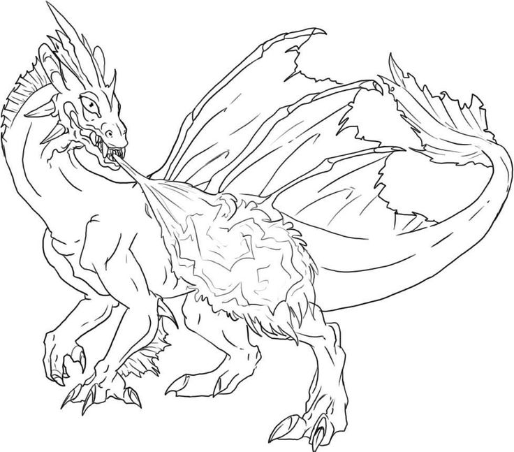 Fire Breathing Dragon Colouring Pages