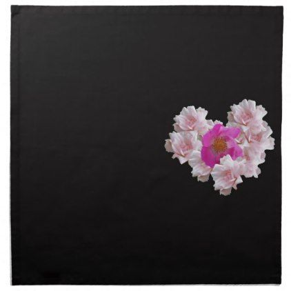 Many Heart Shaped Roses on Black Background Napkin - Saint Valentine's Day gift idea couple love girlfriend boyfriend design