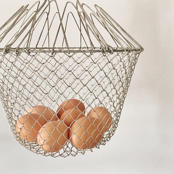 Vintage Metal Wire Egg Basket // Industrial Farm Decor