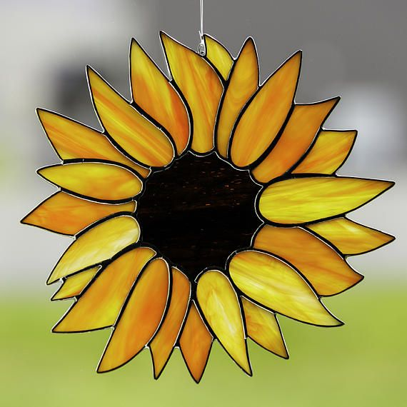 Stained glass sunflower suncatcher, stain glass orange flower ornament on Etsy