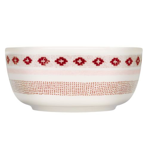 """Stitch"" pattern is inspired by vintage embroidered fabrics. Iittala Sarjaton Tikki White/Red Bowl - $28"