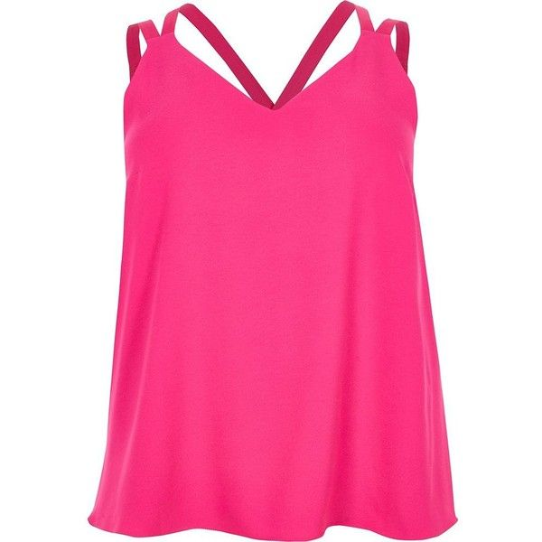 River Island Plus pink cross back double strap cami top (£25) ❤ liked on Polyvore featuring tops, cami / sleeveless tops, pink, women, pink camisole, pink tank top, plus size camisoles, v neck cami and v neck tank top
