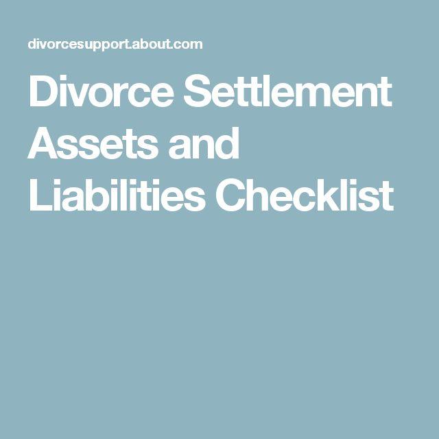 Divorce Settlement Assets and Liabilities Checklist