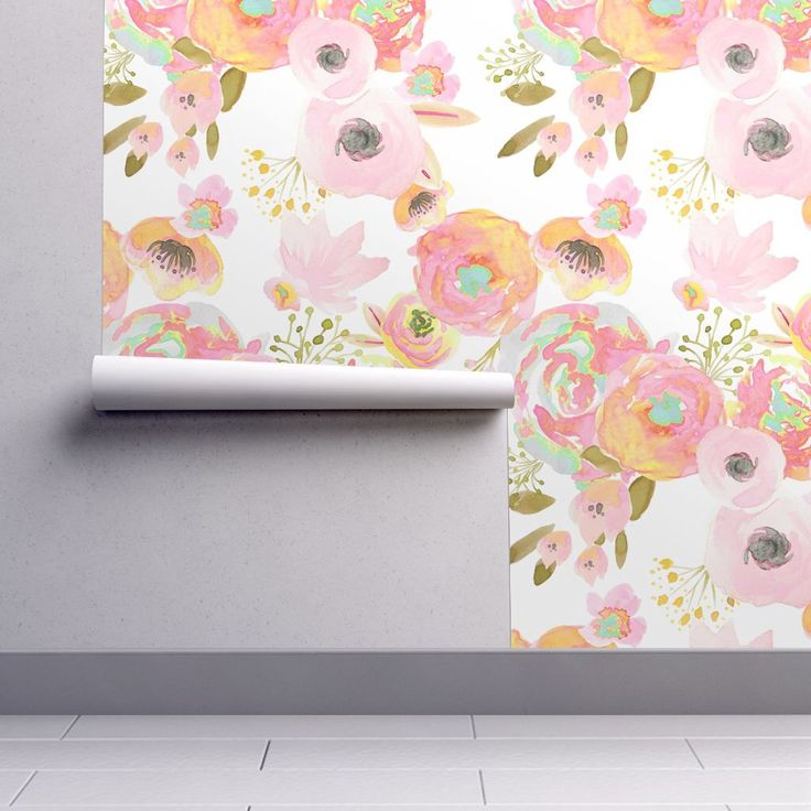 Watercolor Floral Wallpaper - Rainbow Florals by Indy Bloom Design - Custom Printed Removable Self Adhesive Wallpaper Roll by Spoonflower by Spoonflower on Etsy https://www.etsy.com/listing/489342550/watercolor-floral-wallpaper-rainbow