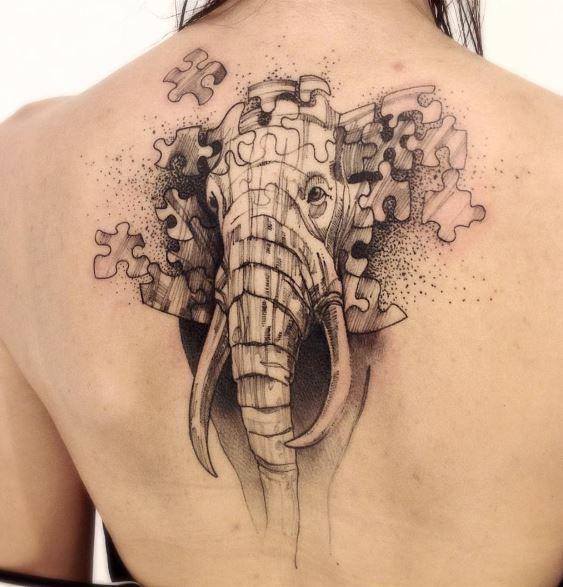 Elephant Puzzle Tattoo
