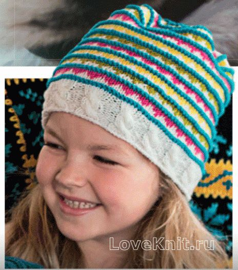 детская полосатая шапочка с косами фото к описанию