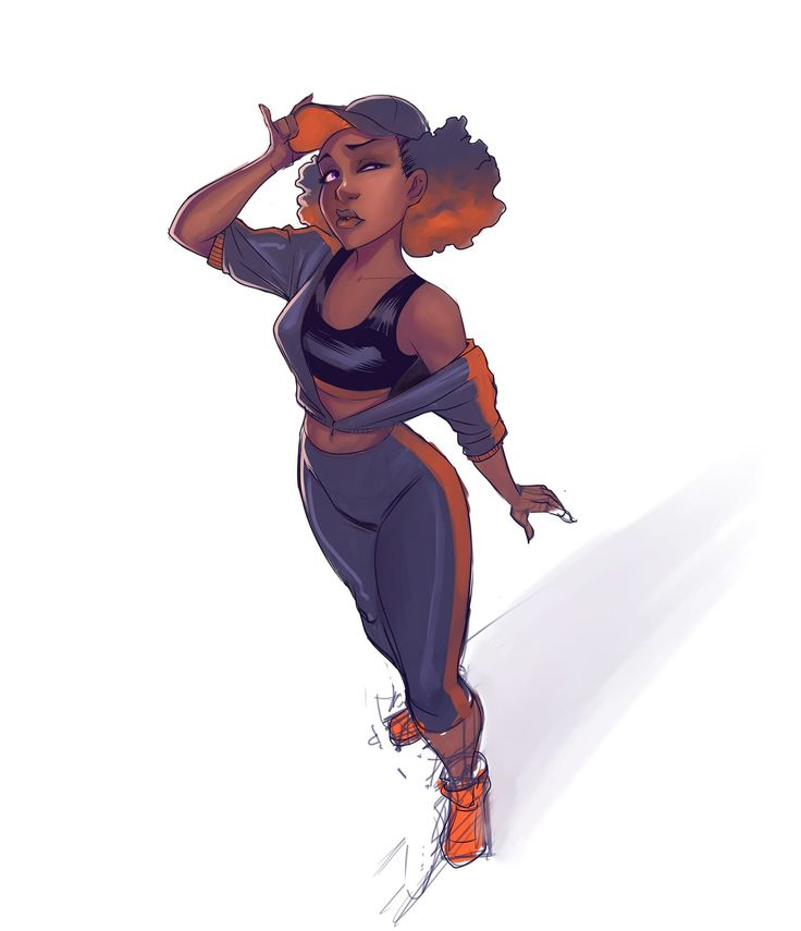 Here's an unfinished digital painting of a B-Girl standing in her B-Girl style.