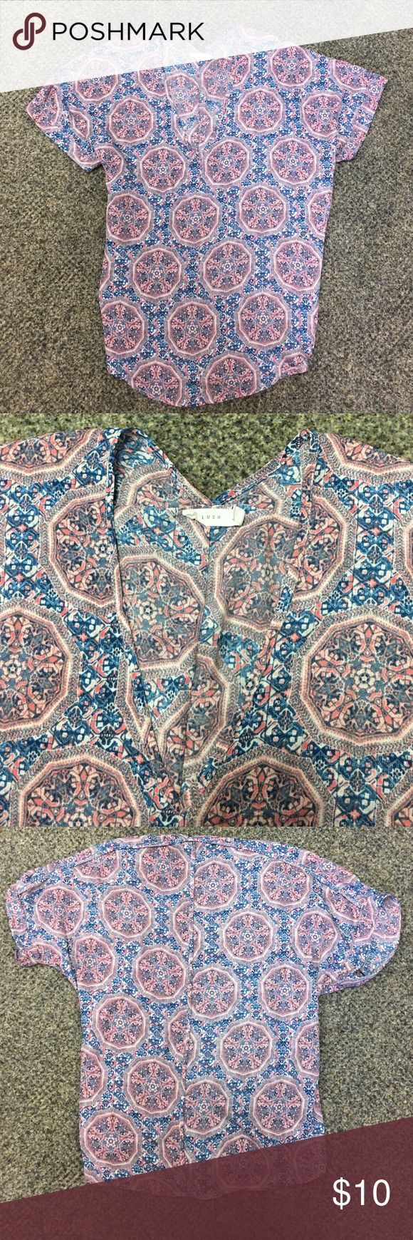 Pink and Blue Kaleidoscope Pattern Blouse Pink and blue kaleidoscope pattern loose flowing blouse. Perfect condition. From Dry Goods. Size medium. Lush Tops Blouses