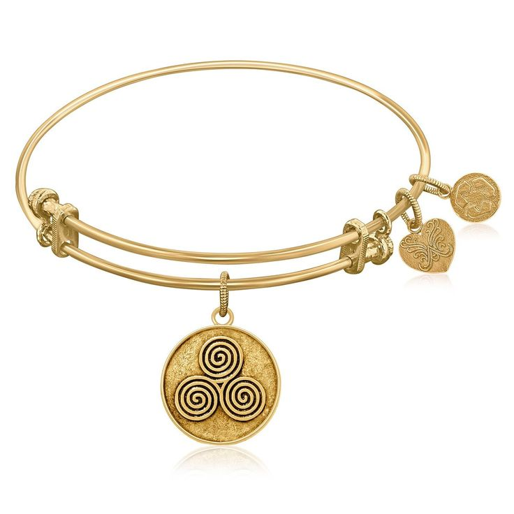 Expandable Bangle in Yellow Tone Brass with Mind Body And Soul Symbol