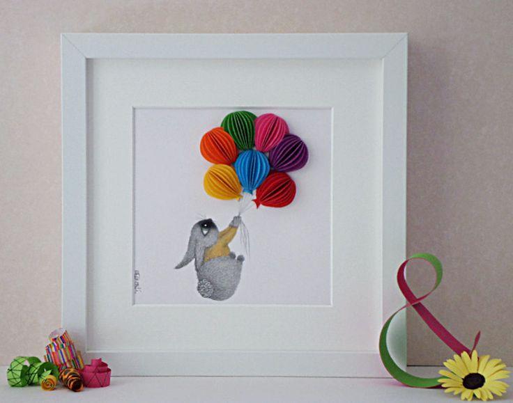 Bunny Print for Nursery, 3D Balloon Art, Colourful Nursery Art, Baby Shower Gift Idea, Baby Room Decor, Children's Playroom Decor by QuillArtuk on Etsy