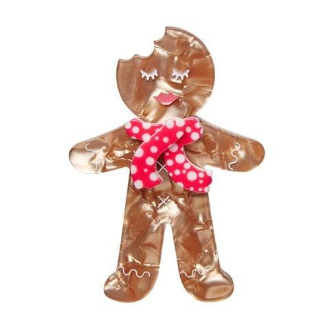 """Erstwilder Collectable Ginger The Christmas Cookie Brooch. """"Sugar and spice and all things nice. Yes I know I'm terribly tasty. But can you catch me?"""""""