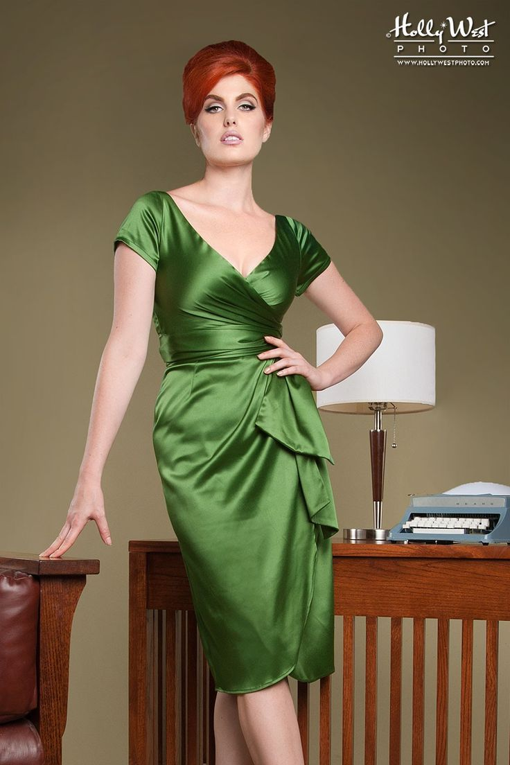 Elegant Wrap Evening Dress with Plunging Neckline in Jade Green Satin   Pinup Girl Clothing