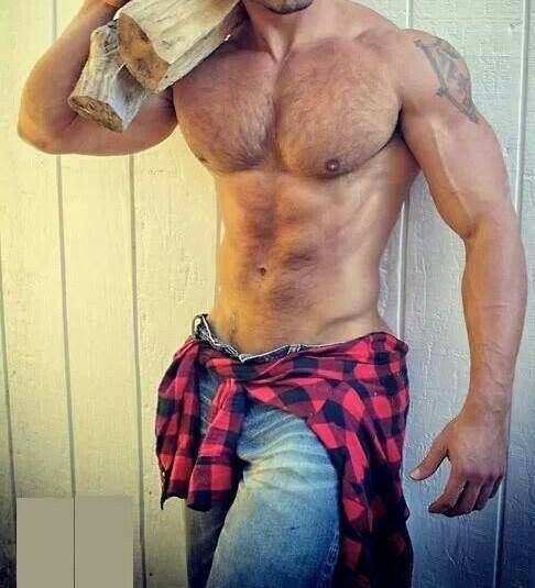 You wouldn't even need a fire with this hunk around! #HunkDay #SexyWoodsman
