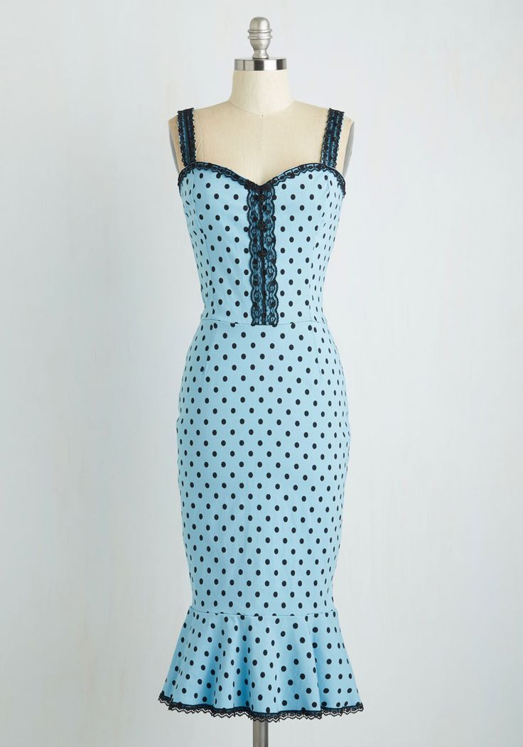 In the Groove Dress in Sky Blue Dots. Getting down with the DJs beats is a whole lot sassier when youre dancin in this baby blue, polka-dotted sheath! #blue #modcloth