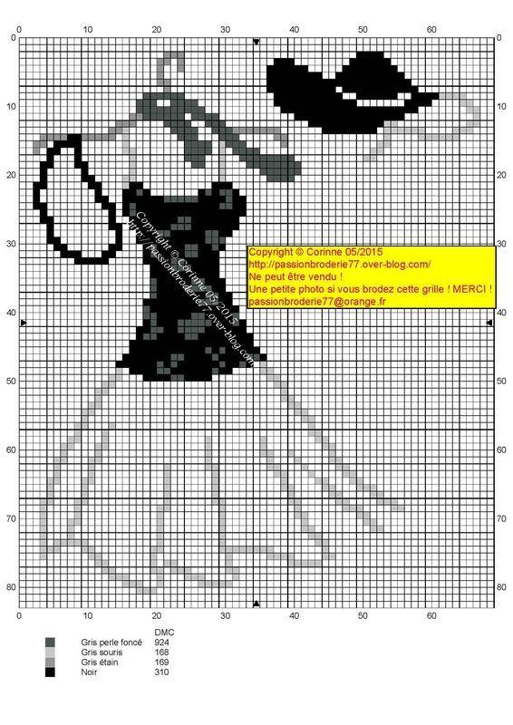 0 point de croix robe blanc noir - cross stitch black and white dress