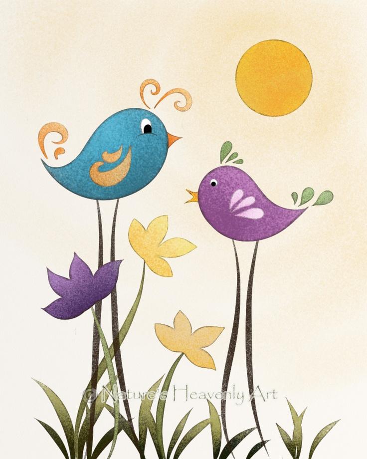 Whimsical Bird Art Childrens Art Print by NaturesHeavenlyArt