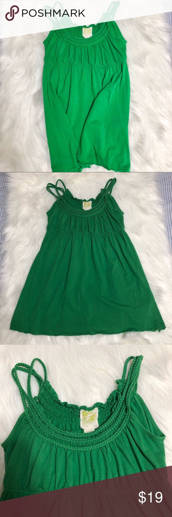 """Anthropologie C. Keer Kelly Green Braided Tank Top Anthropologie C. Keer Kelly Green Braided Tank Top size small. Baby doll style. Braided straps.   Pit to pit: 14"""" Shoulder to hem: 23"""" Anthropologie Tops Tank Tops"""