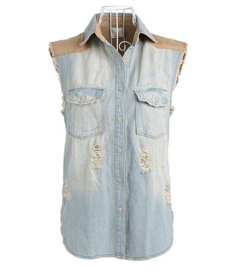 Korean Style Vintage mosaic cowboy vest denim 117  from Socishop