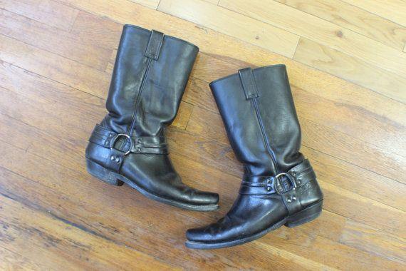 Harnais pour hommes bottes / taille botte de moto masculine 10 1/2 / Vintage cuir chaussures noires