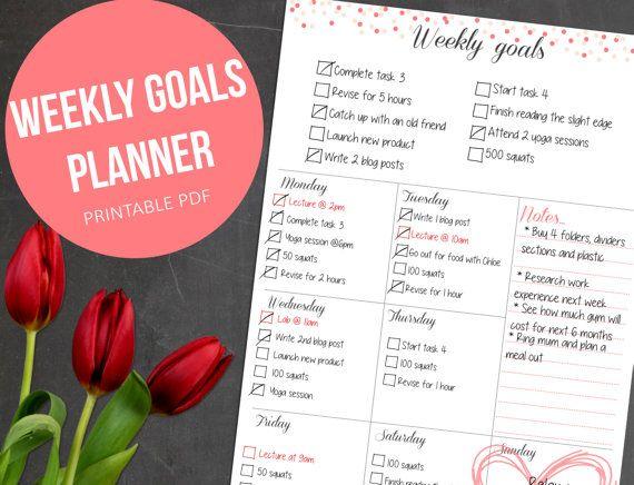 Weekly Planner Printable - Weekly Organizer - A4 Planner, A5 Planner, 8.5x11 Planner