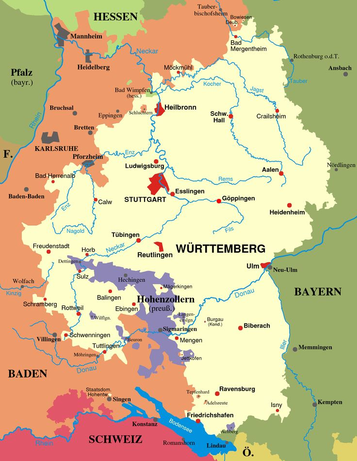 Map of Württemberg and Baden from 1810-1945