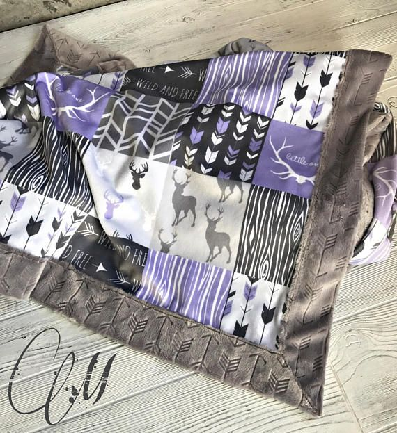 ***Options*** Please read carefully!! Woodland lilac faux quilt with silver arrow backing. Minky blankets are minky on both sides. Check shop info for turnaround time. Minky Baby blanket - Measures approximately 28x38 inches. Great for strollers, car seats, swaddling etc Minky