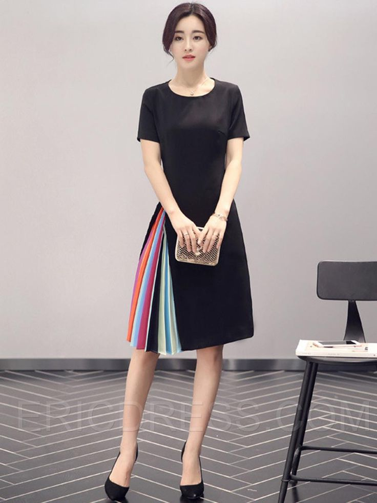 Ericdress Color Block Patchwork Short Sleeve Round Neck Casual Dress 5