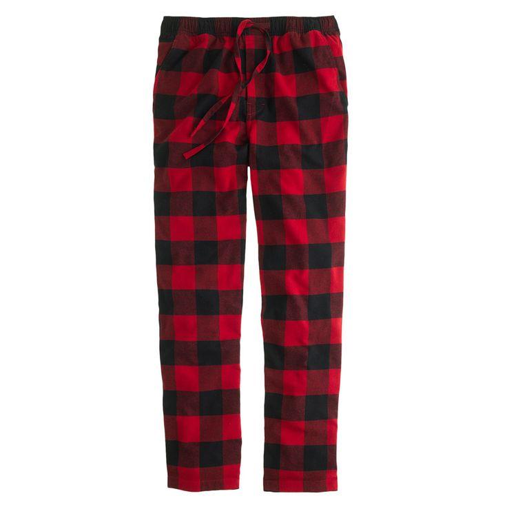 J.Crew men's flannel pajama pant in buffalo check.