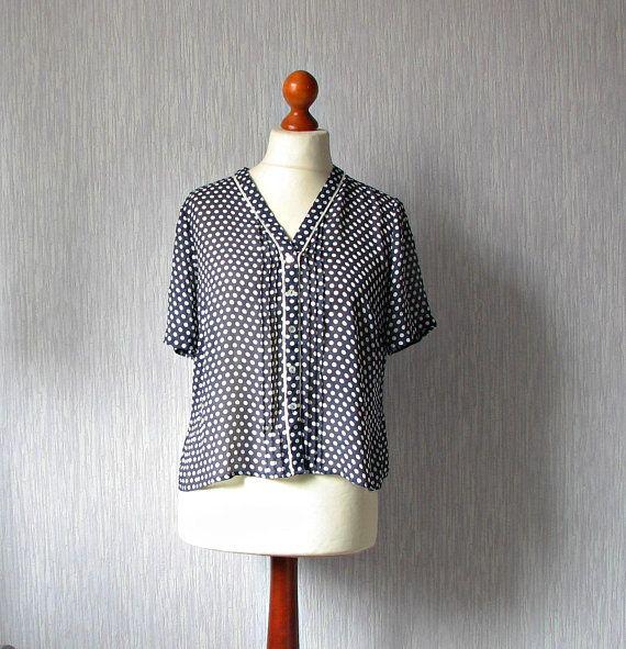 ad230e932 Plus size vintage, navy blue polka dot blouse, shirt top elegant ...