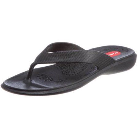 Okabashi Womens Black Maui Orthopedic Flip Flop Sandal Shoes Footwear (Medium)