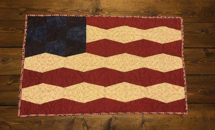 Quilted Legacy- Binding the Generations. Custom quilting and services. American flag table runner. Tumbler block.