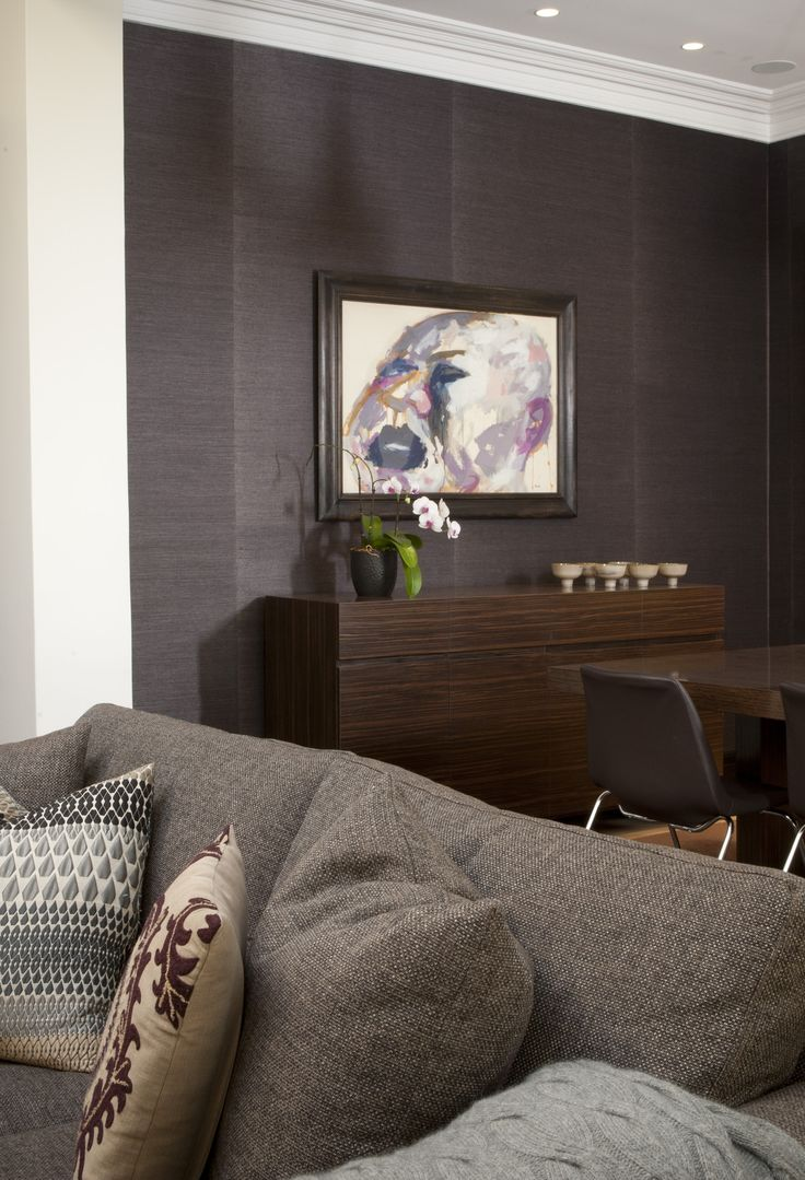 Informal Living to dining room open space with Thibaut grasscloth wallpaper. Brooke Aitken Design