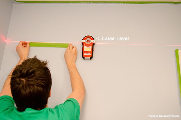 Use a laser level to get super straight lines when painting stripes. This works awesome!