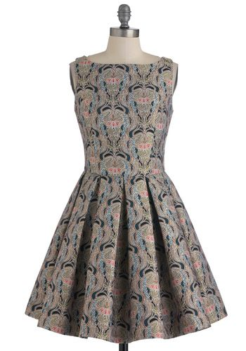 Classic Stunner Dress in Brocade by BB Dakota - Multi, Print, Wedding, Party, 50s, A-line, Sleeveless, Short, Exclusives, Cotton, Cocktail, Holiday Party, Boat, Fit & Flare