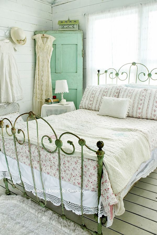 Iron bed and mint green cabinet?? Yes, please. Aiken House and Gardens shabby bedroom Flower Arrangements And Romantic Decor