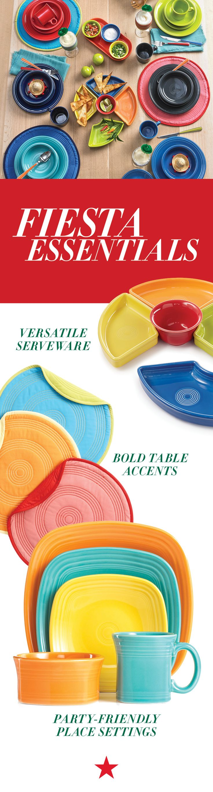 Everything you need for your next fiesta is right at your fingertips! Colorful plates, party-ready table linens, bright entertaining pieces...consider yourself served.