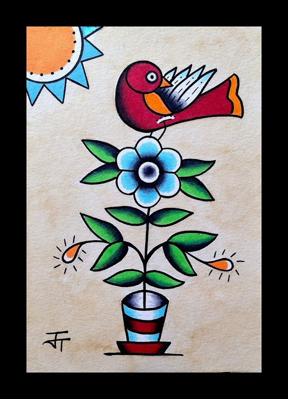 Red And Orange Bird On A Blue Flower With Sun Fraktur