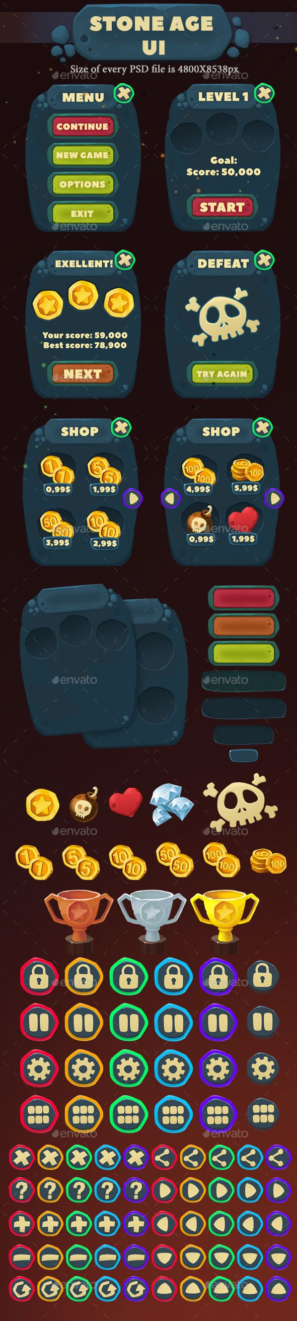 Stone Age UI - #User Interfaces #Game Assets Download here: https://graphicriver.net/item/stone-age-ui/19711037?ref=alena994